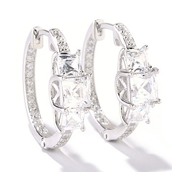 125-691 - TYCOON for Brilliante® 3.42 DEW Three-Stone Hoop Earrings