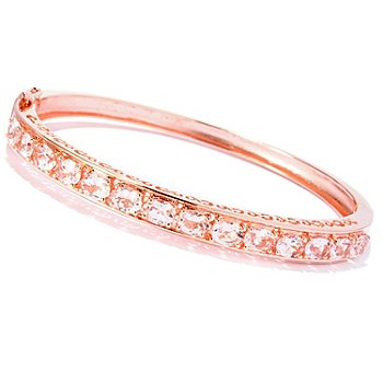 125-713 - NYC II 3.64ctw Morganite Hinged Bangle Bracelet