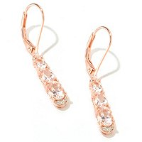 SS/18KV EAR MORGANITE TRIO & WHITE ZIRCON LEVER BACK