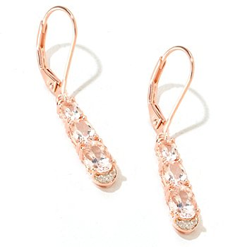125-715 - NYC II 1.54ctw Morganite & White Zircon Trio Dangling Earrings