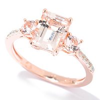 SS/18KV RING 8x6mm OCTAGON MORGANITE & WHT ZIRCON