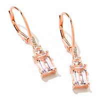 SS/18KV EAR 7x5MM MORGANITE OCTAGON DROP LEVER BACK