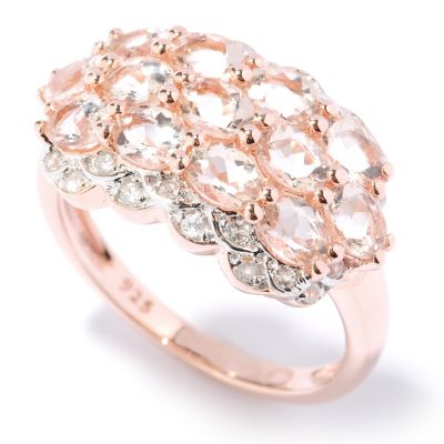 125-718 - NYC II 1.89ctw Morganite & White Zircon Three-Row Ring