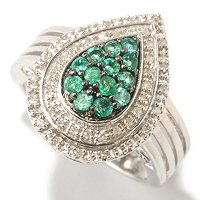 SS/PLAT RING ZAMBIAN EMERALD & DIAMOND PEAR