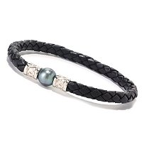 STSL 10-11mm TAHITIAN & BRAIDED LEATHER CORD BRACLET