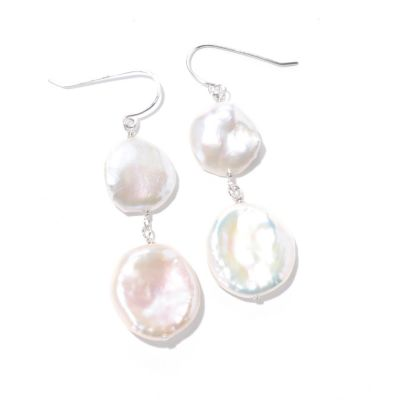 125-730 - Sterling Silver 12-13mm & 16-18mm White Freshwater Cultured Keishi Pearl Earrings