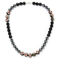 SS FACETED HEMATINE,ONYX & CLOSIONNE NECKLACE