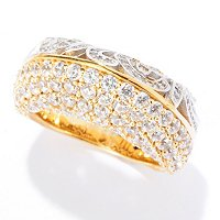 SB SS/TWO-TONE PAVE & SWIRL DOUBLE SIDED DOMED RING