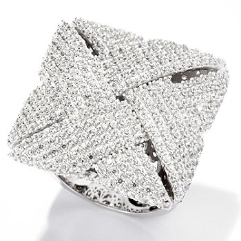 125-745 - Sonia Bitton for Brilliante® Platinum Embraced™ 4.63 DEW Pave Set Woven Square Ring
