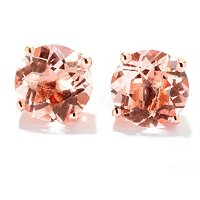 14K ROSE 8MM MORGANITE STUD EARRING