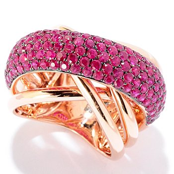 125-774 - EFFY 14K Rose Gold 2.70ctw Red Ruby Wide Crossover Ring