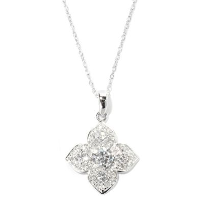 "125-784 - Brilliante® Platinum Embraced™ 1.19 DEW Flower Pendant w/ 18"" Chain"