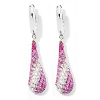 ALISSIMA BY EFFY STERLING SILVER SHADES OF PINK SAPPHIRE TEARDROP EARRINGS