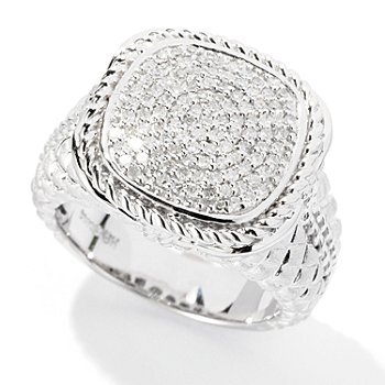 125-839 - EFFY Sterling Silver 0.37ctw Diamond ''Balissima'' Square Ring