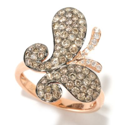 125-840 - EFFY 14K Rose Gold 1.00ctw Cognac & White Diamond Butterfly Ring