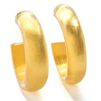 125-859 - Italian Designs with Stefano 24K ''Oro Puro'' Gold Foil & Resin Hoop Earrings