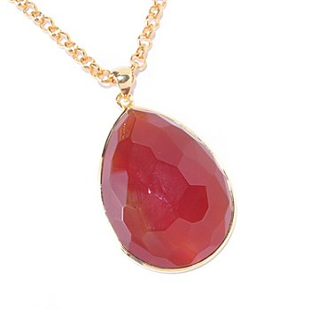 125-864 - 14K Gold Embraced 30 x 40mm Pear Shape Red Carnelian Pendant w/ Chain