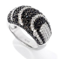 "SS BLK SPINEL WITH WHITE ZIRCON ""DRAMA"" RING"