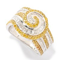 SS BAG SWIRL RING WHITE AND YELLOW DIAMONDS