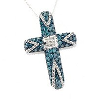 14K WG BLUE AND WHITE DIAMOND CROSS W/CHAIN