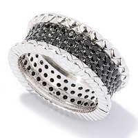 SS 3 ROW PAVE BLK SPINEL RING NO WAVE