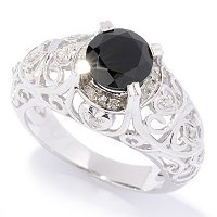 SS BLK SPINEL WITH CUT OUT SHANK RING