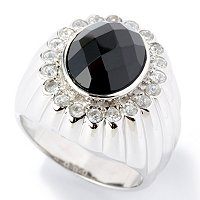 SS OVAL BLACK SPINEL MENS RING