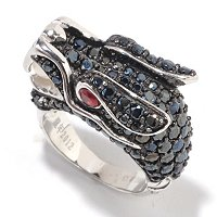 SS YEAR OF THE DRAGON BLACK SPINEL, FWP & GARNET RING