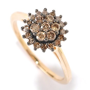 125-900 - Diamond Treasures 14K Gold 0.45ctw Mocha Diamond Cluster Solitaire Ring