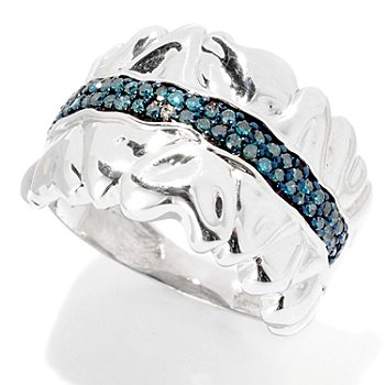 125-904 - Diamond Treasures Sterling Silver 0.25ctw Blue Diamond Heart Band Ring