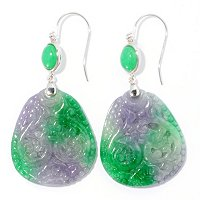 SS 28x32mm DYED GREEN & LAVENDAR CARVED XING'DI ROYAL JADE EARRINGS