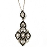 SS BLK SPINEL PEND WITH NAT ZIRCON W/CHAIN 18""