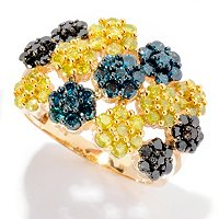 14K YG MULTI COLOR FLOWER STATION BAND