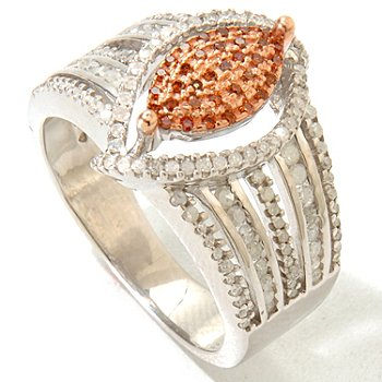 125-922 - Diamond Treasures Sterling Silver 0.63ctw Red & White Diamond Marquise Ring