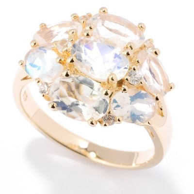 125-935 - NYC II 3.77ctw Rainbow Moonstone & White Zircon Ring