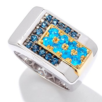 125-938 - Men's en Vogue II 1.32ctw Neon Apatite & London Blue Topaz Ring