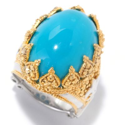 125-939 - Dallas Prince Designs 20 x 15mm Oval Turquoise & Chrome Marcasite Crown Ring