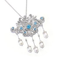SS MARCASITE PIN PEND WITH BLUE TOPAZ AND FWP DROPS