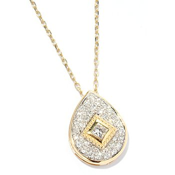 125-952 - Beverly Hills Elegance 14K Gold 0.55ctw Diamond Tear Drop Pendant
