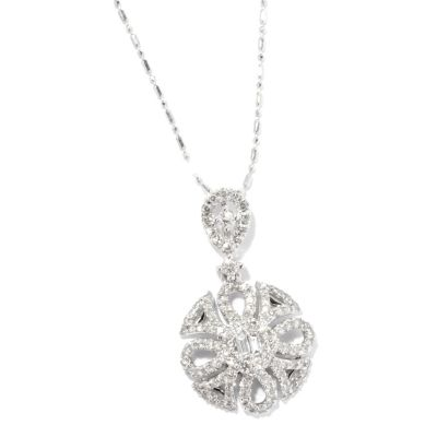 125-953 - Beverly Hills Elegance 14K White Gold 1.00ctw Diamond Star Burst Pendant