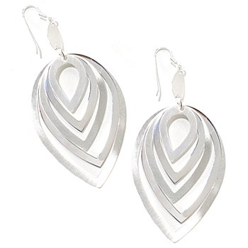 125-956 - SempreSilver™ Satin Polished Graduated Multi Drop Earrings