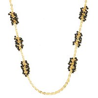 BRONZE/18KGP NECK FACETED BLACK ONYX BEAD CLUSTER STATION - 30""