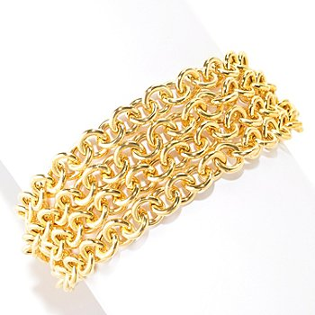 125-968 - Milano Luxe Gold Embraced™ Rolo Multi-Strand Polished Bracelet w/ Magnetic Clasp