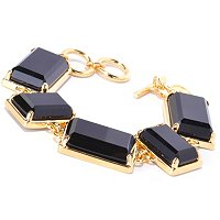 BRONZE/18KGP BRAC EMERALD-CUT BLACK ONYX GEOMETRIC LINK w/ DOUBLE TOGGLE CLASP