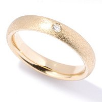 SEMPREGOLD 14K SATIN BAND W/DIAMOND ACCENT