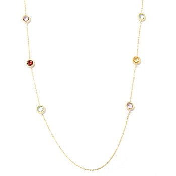 125-982 - SempreGold™ 14K 32'' Multi Gem Station Necklace