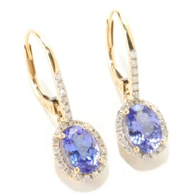125-991 - Gem Treasures 14K Gold 1.87ctw Exotic Gemstone & Diamond Drop Earrings