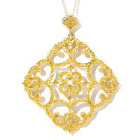 14K YG YELLOW DIAMOND SCROLL PEND W/CHAIN