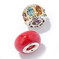 SS/PALL CHARM MULTI-GEMSTONE SET OF 2