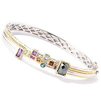 "SS/PALL BRAC MULTI-GEMSTONE ""MANHATTAN"" HINGED BANGLE"